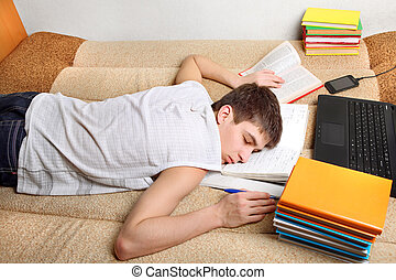 Teenager sleeps after Learning - Tired Teenager sleeping...