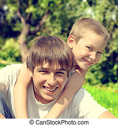 Happy Brothers - Toned photo of Happy Brothers Portrait at...