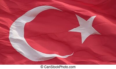 Waving Turkish flag, full screen, silent HD video