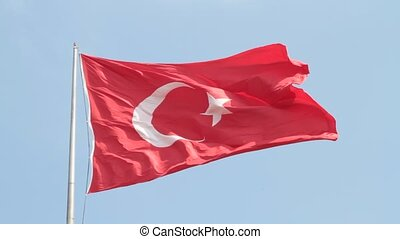 Waving Turkish flag. Silent HD video
