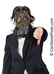 Pandemic - Business woman in gas mask isolated on white...