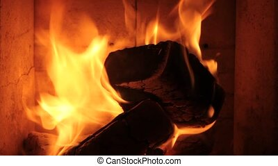 Fireplace fire close up
