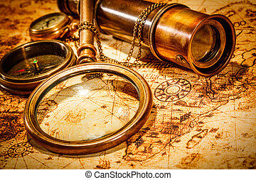 Vintage still life - Vintage magnifying glass, compass,...