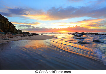 Magnificent sunrise morning at the beach Australia -...