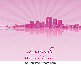 Louisville skyline in purple radiant orchid in editable...