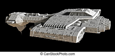 Spaceship on black - side view - Science fiction spaceship...