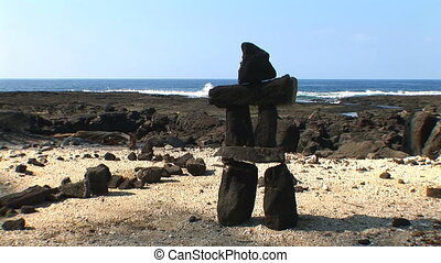 Balanced Rock - Lava rock cairn, on the beach at Puuhonua o...