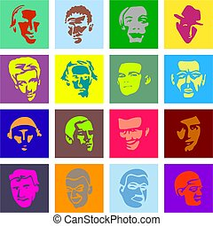 male face tiles - A set of colourful male face portrait...