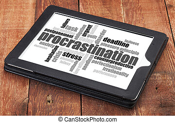 procrastination word cloud on a digital tablet against red...