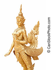 Thailand in mythic animal statues of Golden kinnaree...
