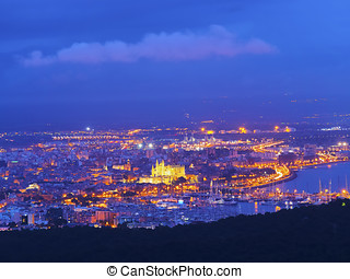 Aerial view of Palma of Majorca - Night aerial view of Palma...