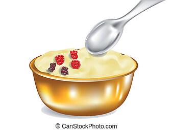 custard with spoon isolated on white background