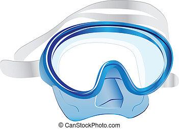 Swim scuba mask - The swimming scuba mask underwater. Vector...