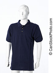 Blu polo shirt isolated on a white background