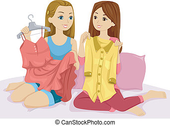 Clothes Swap - Illustration of a Pair of Girls Swapping...