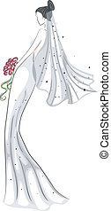 Bridal Gown Sketch - Sketchy Illustration of a Bride in Her...