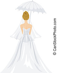 Bridal Shower Back View - Back View Illustration of a Lovely...