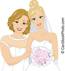 Bride and Mom - Illusration of a Lovely Bride Posing with...
