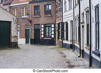 Cobbled street in brugges, belgium - Traditional cobbled...
