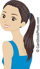 Ponytail Girl - Illustration of a Beautiful Girl in a...