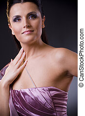 Woman in evening dress - Closeup portrait of a beautiful...
