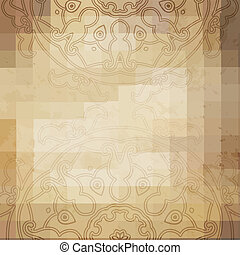 Aged paper background with round ornament