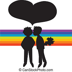 Two black silhouettes of boys in rainbow