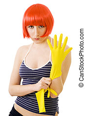 woman in red wig and yellow gloves - confident woman cleaner...