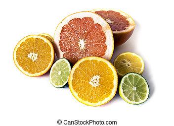 Big assortment of cut citrus