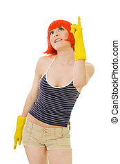 woman in red wig and yellow gloves pointing with finger -...