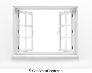 Opened plastic window. 3d render