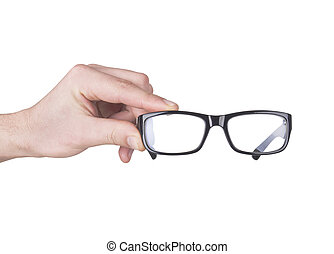 man hand with black glasses, isolated on white - man hand...