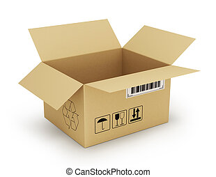open empty cardboard box 3d illustration, isolated on white...