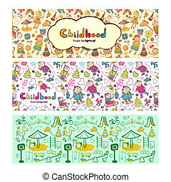 Set colorful children banners in cartoon style