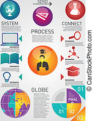 circles blue red with scholastic attribute - Education info...