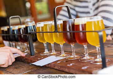 Beer tasting - Tasting of many different types of beers
