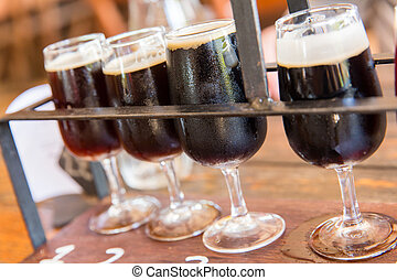 Dark beer tasting - Tasting of many different types of...