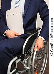 Job applicant in a wheelchair - A Job applicant in a...