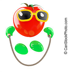 3d Tomato skipping - 3d render of a tomato skipping with a...