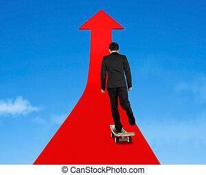 businessman skateboarding on red arrow in sky