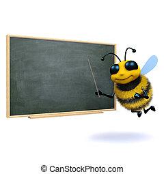 3d Bee teacher - 3d render of a bee at a blackboard
