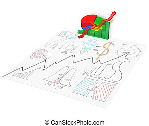 3D chart with business doodles on paper