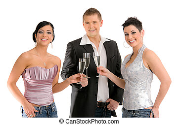 young people drinking champagne - Group of happy young...
