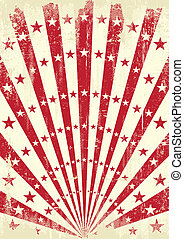 Red retro sunbeams - A retro poster with red sunbeams