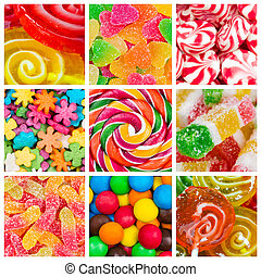 Collage of candy and sweets - Collage of different colorful...
