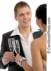 Man clinking with champagne - Happy young man clinking with...