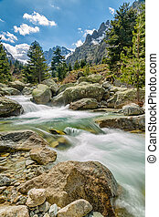 Waterfalls and mountains at Restonica in Corsica - The...