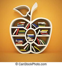 shelf like apple with books