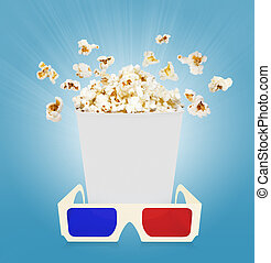 popcorn with glasses  blue background