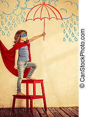 Superhero kid - Full length portrait of superhero kid...
